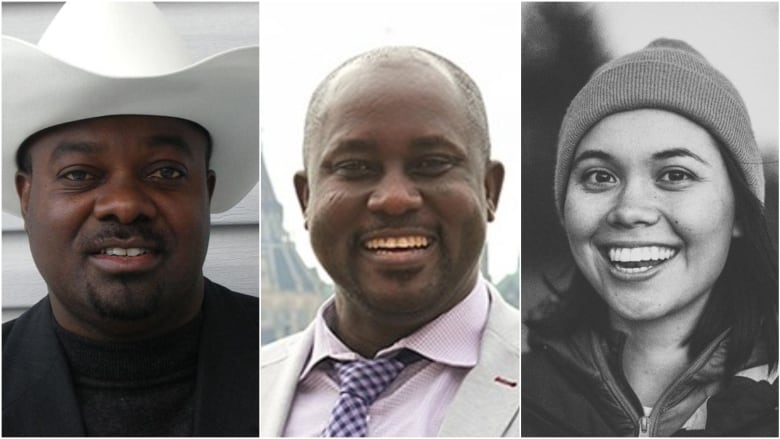From left: Derick Lwugi from Calgary, Carlton University professor Pius Adesanmi and Danielle Moore from Winnipeg are among the 18 Canadians killed in Sunday's plane crash in Ethiopia. (Facebook via Canadian Press, Josh Hotz/Carleton University/Associated Press, Facebook)