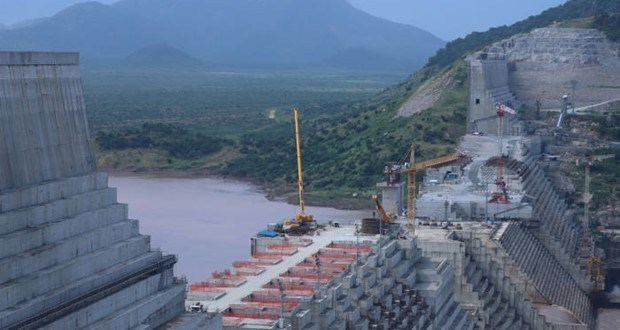 The Grand Ethiopian Renaissance Dam under construction.